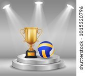 realistic trophy and volleyball ... | Shutterstock .eps vector #1015320796