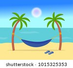 a hammock hanging in the middle ... | Shutterstock .eps vector #1015325353