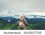 hipster young girl with... | Shutterstock . vector #1015327720