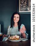 cheerful woman is about to eat  ...   Shutterstock . vector #1015328614