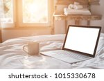 close up white coffee cup and... | Shutterstock . vector #1015330678