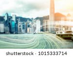 double exposure with traffic... | Shutterstock . vector #1015333714