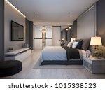 Stock photo  d rendering beautiful luxury bedroom suite in hotel with tv 1015338523