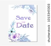 save the date purple floral...   Shutterstock .eps vector #1015345303