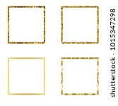 set of golden square frames.... | Shutterstock . vector #1015347298