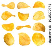 set of potato chips close up on ... | Shutterstock . vector #1015370776