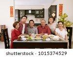 happy big vietnamese family... | Shutterstock . vector #1015374529