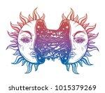sun broken in two half open and ... | Shutterstock .eps vector #1015379269