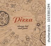 vector background with pizza... | Shutterstock .eps vector #1015381294