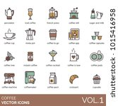 coffee icons. percolator  iced  ... | Shutterstock .eps vector #1015416958