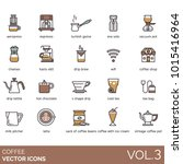 coffee vector icons. aeropress  ... | Shutterstock .eps vector #1015416964