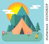 camping and mountain camp in... | Shutterstock .eps vector #1015428229