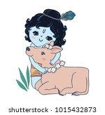 cute little krishna and cow.... | Shutterstock .eps vector #1015432873
