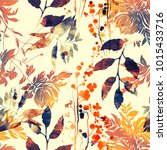 Stock photo imprints flowers and leaves mix repeat seamless pattern watercolor and digital hand drawn picture 1015433716