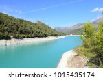 the reservoir of guadalest ... | Shutterstock . vector #1015435174