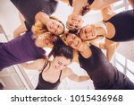 group of young sportive people... | Shutterstock . vector #1015436968