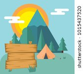 blank wooden board standing in... | Shutterstock .eps vector #1015437520