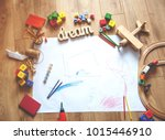 kids toys on floor on white... | Shutterstock . vector #1015446910