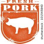 Vintage Fresh Pork Meat Stamp - stock vector