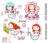 set of four cute mermaids with... | Shutterstock .eps vector #1015462660
