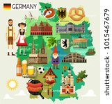 Map Of Germany And Travel Icon...