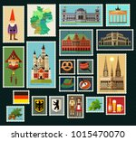 stamps with germany historical... | Shutterstock .eps vector #1015470070