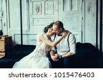 happy couple in love having fun ... | Shutterstock . vector #1015476403