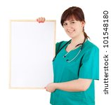 overweight woman doctor keeping blank sign, white background - stock photo