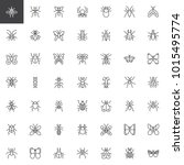 bug and insects line icons set  ... | Shutterstock .eps vector #1015495774