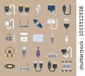 icons connectors cables with... | Shutterstock .eps vector #1015512538