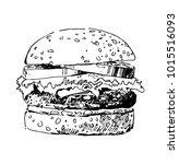 illustration of a hamburger.... | Shutterstock .eps vector #1015516093