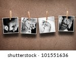 Stock photo pictures of parent hand and baby hand hanging on the rope 101551636