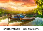 phi phi island at sunset time  ... | Shutterstock . vector #1015521898