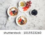 seasonal healthy breakfast ... | Shutterstock . vector #1015523260