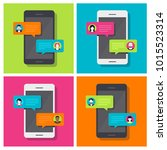 concept of a mobile chat or... | Shutterstock .eps vector #1015523314