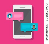 concept of a mobile chat or... | Shutterstock .eps vector #1015524970