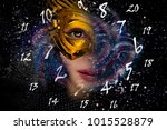 woman in mask  numerology world | Shutterstock . vector #1015528879