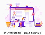 small people around a monitor... | Shutterstock .eps vector #1015530496