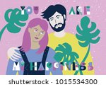 vector llustration with lovers... | Shutterstock .eps vector #1015534300