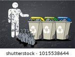 a recycling box points where to ...   Shutterstock .eps vector #1015538644