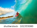 body boarder on large wave... | Shutterstock . vector #101555080