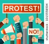 vector illustration protest... | Shutterstock .eps vector #1015558504