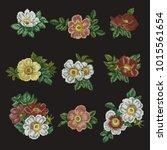 vector set of embroidery cross... | Shutterstock .eps vector #1015561654