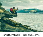 hipster hiking woman 50 60 by... | Shutterstock . vector #1015563598