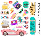 pop art fashion chic patches ... | Shutterstock . vector #1015566544