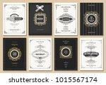 monogram creative cards...   Shutterstock .eps vector #1015567174