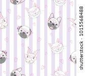 funny girlish seamless pattern...   Shutterstock .eps vector #1015568488