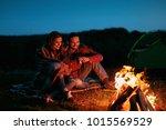 romantic weekend. couple in... | Shutterstock . vector #1015569529