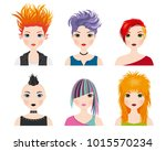 set girl avatars with punk style | Shutterstock .eps vector #1015570234