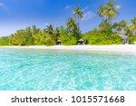 maldives island beach scene.... | Shutterstock . vector #1015571668
